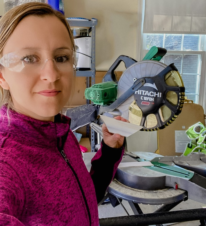 Family Room – One Room Challenge Week 4: Tips for Cutting Wall Trim using a MiterSaw